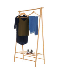 New wardrobe rack with stylish lady's clothes and shoes on white background