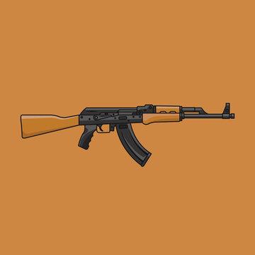AK-47 WEAPON FLAT DESIGN ILLUSTRATION