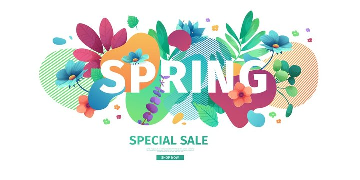 Template design banner for spring season sale. Promotion offer layout with plants, leaves and floral decoration.  Abstract shape with flowers frame. Vector