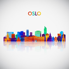 Oslo skyline silhouette in colorful geometric style. Symbol for your design. Vector illustration.