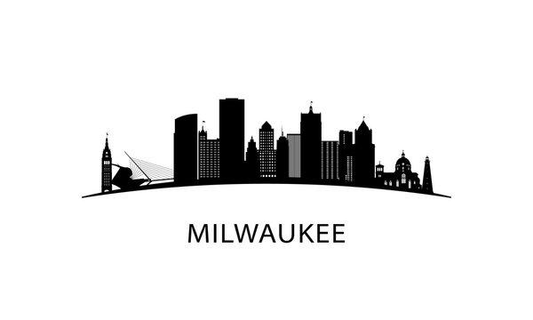 Milwaukee city skyline. Black cityscape isolated on white background. Vector banner.