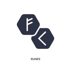 runes icon on white background. Simple element illustration from magic concept.