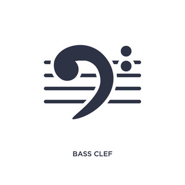 bass clef icon on white background. Simple element illustration from music and media concept.