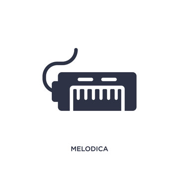 melodica icon on white background. Simple element illustration from music concept.