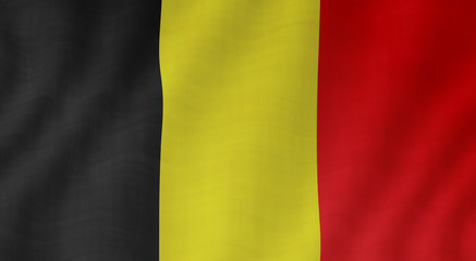 Graphic illustration of a flying Belgian flag with a textile pattern