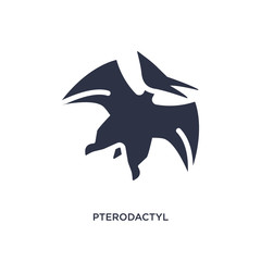 pterodactyl icon on white background. Simple element illustration from stone age concept.
