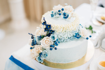 Wedding cake decorated with blueberries and flowers in blue tones
