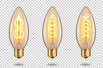 Wall Mural - Set of realistic transparent vintage light bulb, isolated.
