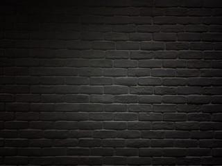 Printed roller blinds Brick wall Black colored brick wall. Vintage brick and block wall in room.