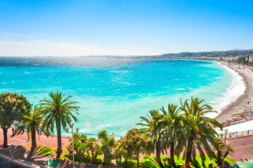 Panoramic view of the sea coast in Nice, France. Cote d'azur, french riviera.