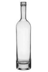 Empty glass bottle with a narrow neck and a thick bottom isolated on a white background