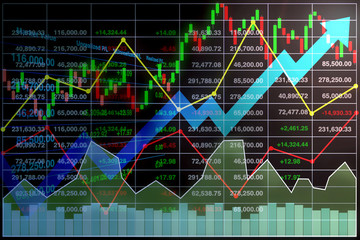 Illustration image of stock index market table background with perspective view of data graph and chart show successful growth arrow up.