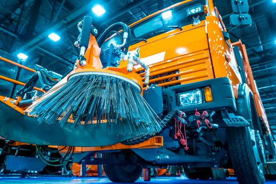 Street cleaning machines. Special machinery. Machine with brushes. Vehicles for cleaning in the city. Automatic road cleaning brushes.