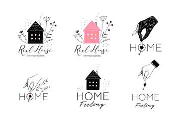 Real estate housing logotype design collection