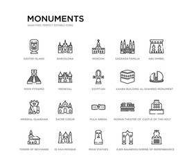 set of 20 line icons such as pula arena, sacre coeur, imperial guardian lion, kaaba building, egyptian, medieval, maya pyramid, sagrada familia building, moscow, barcelona. monuments outline thin