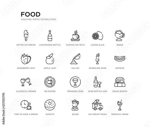 set of 20 line icons such as drinking zone, no eating