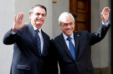 Chile's President Sebastian Pinera meets Brazilian President Jair Bolsonaro in Santiago
