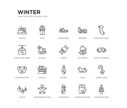 set of 20 line icons such as bauble, chalet, christmas day, hot drink, candy, sledge, cable car cabin, bobsled, snowplow, coat. winter outline thin icons collection. editable 64x64 stroke