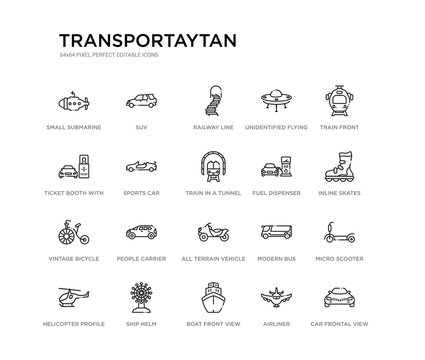 set of 20 line icons such as all terrain vehicle, people carrier, vintage bicycle, fuel dispenser, train in a tunnel, sports car, ticket booth with cross, unidentified flying object, railway line,