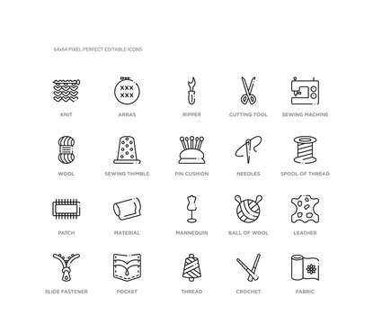 set of 20 line icons such as mannequin, material, patch, needles, pin cushion, sewing thimble, wool, cutting tool, ripper, arras. sew outline thin icons collection. editable 64x64 stroke