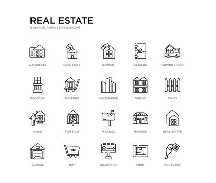 set of 20 line icons such as mailbox, for sale, agent, duplex, skyscraper, shopping, balcony, catalog, deposit, real state. real estate outline thin icons collection. editable 64x64 stroke