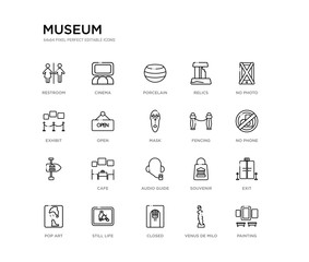 set of 20 line icons such as audio guide, cafe,  , fencing, mask, open, exhibit, relics, porcelain, cinema. museum outline thin icons collection. editable 64x64 stroke