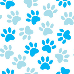 Paw blue print seamless. Vector illustration animal paw track pattern. backdrop with silhouettes of cat or dog footprint.