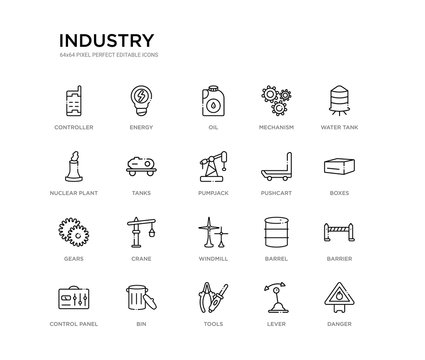 set of 20 line icons such as windmill, crane, gears, pushcart, pumpjack, tanks, nuclear plant, mechanism, oil, energy. industry outline thin icons collection. editable 64x64 stroke