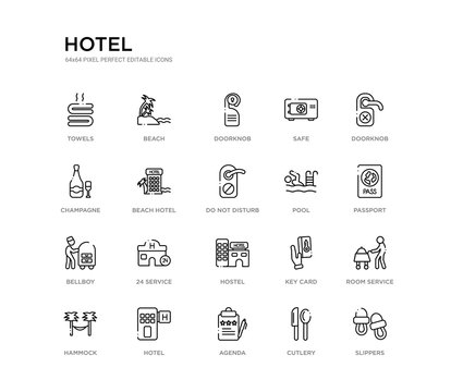 set of 20 line icons such as hostel, 24 service, bellboy, pool, do not disturb, beach hotel, champagne, safe, doorknob, beach. hotel outline thin icons collection. editable 64x64 stroke