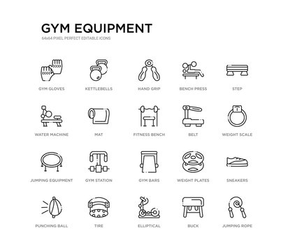 set of 20 line icons such as gym bars, gym station, jumping equipment, belt, fitness bench, mat, water machine, bench press, hand grip, kettlebells. gym equipment outline thin icons collection.