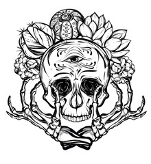 Vector illustration. Skull with bones and cactus. Vector illustration. Handmade. Tattoos, prints on T-shirts, background white, postcard for you