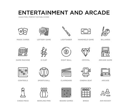 set of 20 line icons such as clapboard, sports ball, controls, crystal, eight ball, g clef, game machine, handheld game, lightsaber, lottery game. entertainment and arcade outline thin icons