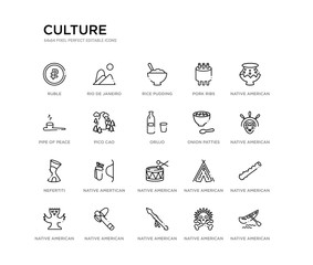 set of 20 line icons such as native american drum, native amertican arrows and quiver, nefertiti, onion patties, orujo, pico cao, pipe of peace, pork ribs, rice pudding, rio de janeiro. culture