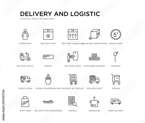 set of 20 line icons such as package on trolley, ocean