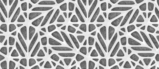 3d white lattice tiles on gray concrete background. High quality seamless realistic texture.
