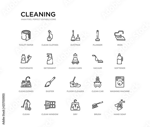 set of 20 line icons such as floor cleaner, duster, clean