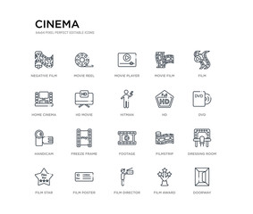 set of 20 line icons such as footage, freeze frame, handicam, hd, hitman, hd movie, home cinema, movie film, movie player, reel. cinema outline thin icons collection. editable 64x64 stroke