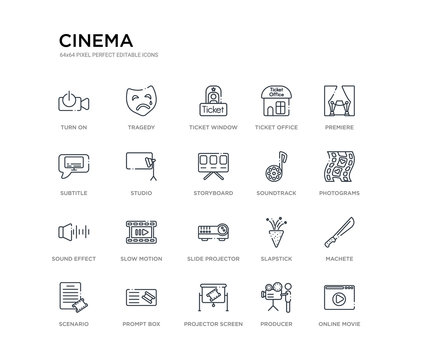 set of 20 line icons such as slide projector, slow motion, sound effect, soundtrack, storyboard, studio, subtitle, ticket office, ticket window, tragedy. cinema outline thin icons collection.