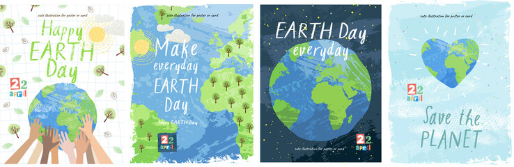 Happy Earth Day! Vector eco illustration for social poster, banner or card on the theme of saving the planet. Make everyday earth day Fotomurales