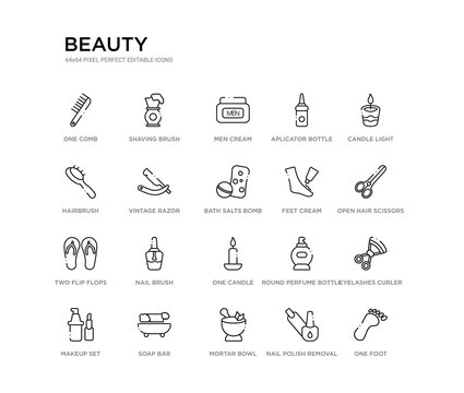 set of 20 line icons such as one candle, nail brush, two flip flops, feet cream, bath salts bomb, vintage razor, hairbrush, aplicator bottle, men cream, shaving brush. beauty outline thin icons