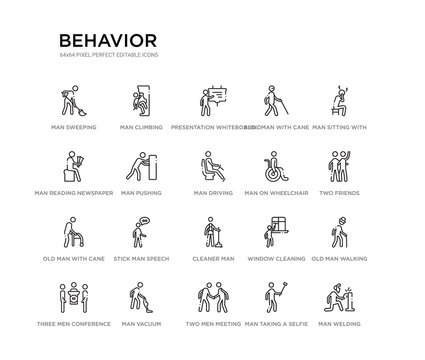 set of 20 line icons such as cleaner man, stick man speech, old man with cane, on wheelchair, driving, pushing, reading newspaper, blindman with cane, presentation whiteboard, climbing. behavior