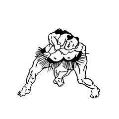 Hand drawn illustration of sumo man wrestlers fight on white background