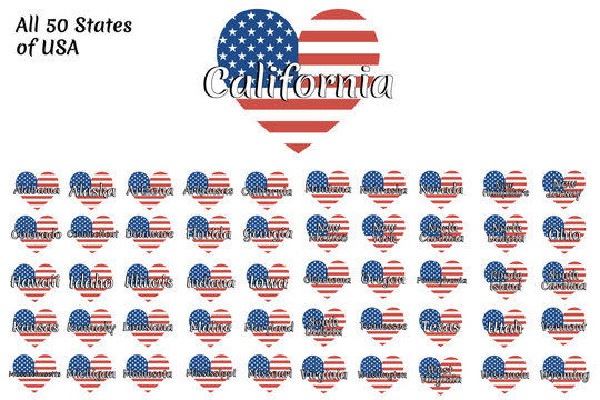 Set of heart shaped flag of The United States of America with inscription of name of all 50 states: Arizona, California, Colorado, Florida, Nebraska, Nevada, New York, Texas and all others. EPS 10.