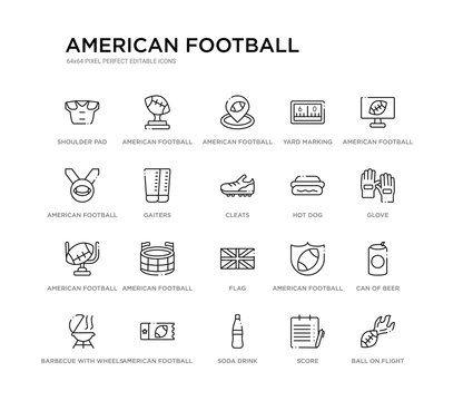 set of 20 line icons such as flag, american football stadium, american football goal, hot dog, cleats, gaiters, american football medal, yard marking, placeholder, trophey. outline thin icons
