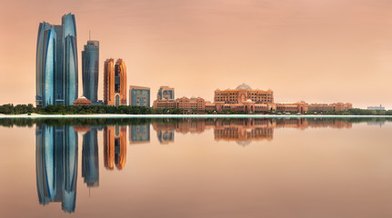 View of Abu Dhabi Skyline on a sunny day, UAE
