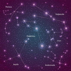 set of stars of constellations with the name vector illustration on a scientific theme
