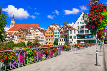 Fototapete - Beautiful places of Germany - colorful floral town Tubingen (Baden-wurttemberg region)