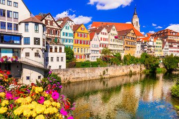 Fototapete - Travel in Germany - colorful floral town Tubingen (Baden-wurttemberg region)