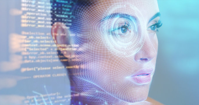 Futuristic and technological scanning of the face of a beautiful woman for facial recognition and scanning to ensure personal safety.