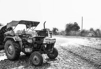 Fototapeta Black & White Indian Tractor